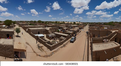 Mali, Timbuktu - August 18, 2016: Panoramic view of the northern part of most dangerous in Western Africa Timbuktu town, currently controlled by United Nations and Malian army forces.