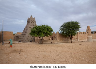 Mali, Timbuktu - August 18, 2016: View to restored Sankore Mosque that was mentioned in UNESCO List of World Heritage in Danger 2012.
