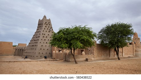 Mali, Timbuktu - August 18, 2016: View to Sankore Mosque built in 14th century and recently restored after being placed in UNESCO List of World Heritage in Danger 2012.