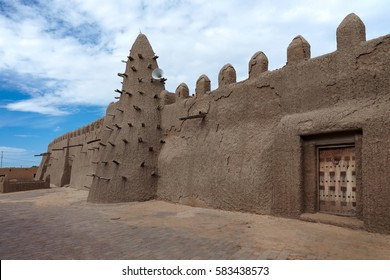 Mali, Timbuktu - August 18, 2016: View to restored Djingareyber Mosque that was mentioned in UNESCO List of World Heritage in Danger 2012.