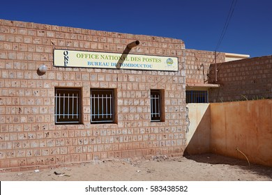 Mali, Timbuktu - February 02, 2017: Main entrance of unique and only one existing official national post office in most dangerous in West Africa Timbuktu town, controlled by UN and Malian army forces.