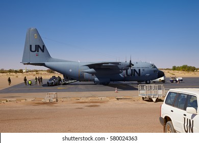 Mali, Timbuktu - February 03, 2017:  United Nations airplane Lockheed C-130 Hercules, belonging to Portuguese air force, loading in Timbuktu airport for weekly UN cargo and passenger flight to Bamako.