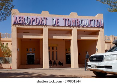 Mali, Timbuktu - January 30, 2017: Rare picture of central departure entrance of Timbuktu airport currently controlled by United Nations forces in West Africa.