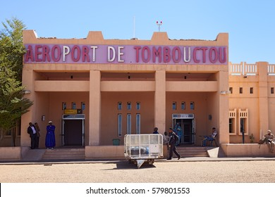 Mali, Timbuktu - January 30, 2017: Rare picture of central arrival entrance of the Timbuktu airport currently controlled by United Nations forces in West Africa.
