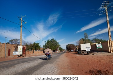 Mali, Timbuktu - January 31, 2017:  A view to the morning traffic on the main street of currently most dangerous in West Africa Timbuktu town, controlled by United Nations and Malian army forces.