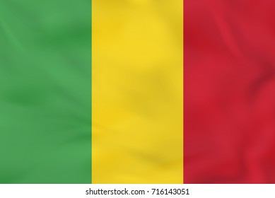 Mali waving flag. Mali national flag background texture. Raster copy.