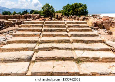 Malia archaeological site, Crete/Greece - June 2015: Ruins of the ancient greek palace in Malia archaeological site