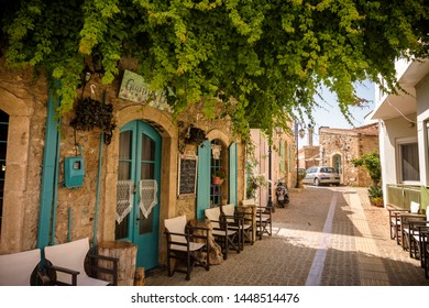 Malia, Crete, Greece - May 27, 2019. Daytime view of the streets in Malia, Old part of the town