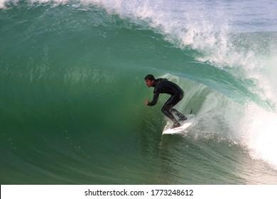 Malibu, California / USA - 05-11-2004: Big south swell at Supertubes surfing spot.
