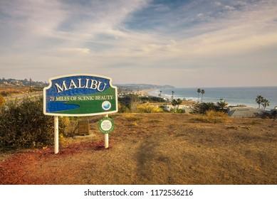 Malibu, California, USA - January 8, 2018 : Malibu road sign situated along the Pacific Coast Highway near Los Angeles, California