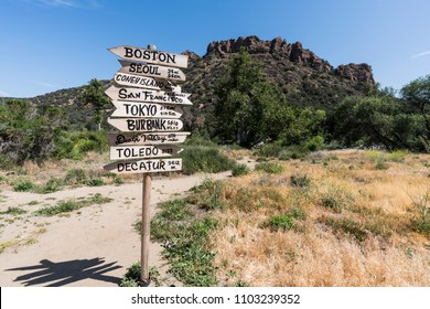 "Malibu, California, USA - May 29, 2018:  Restored ""MASH"" movie set sign on display at Malibu Creek State Park."