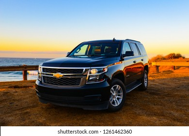 Malibu - California - USA. November 25,  2018. Emotional Chevrolet Thaoe at the sunrise.  American Tipica SUV on the beach.
