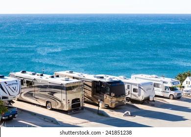 Malibu, California, USA-December 26, 2014. Winter RV camping on cost of California.