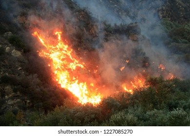 MALIBU - NOV 11: Flames are seen in Malibu canyon along the road during the wildfire in Malibu, CA on November 11, 2018
