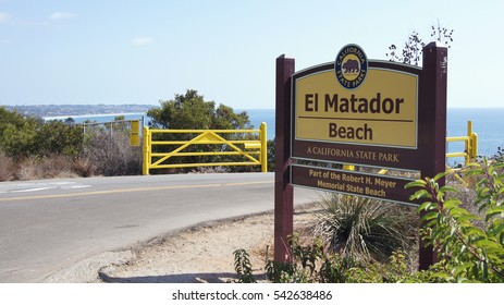 MALIBU, UNITED STATES - OCTOBER 9, 2014: Beautiful and romantic El Matador State Beach in Southern California - entry sign.