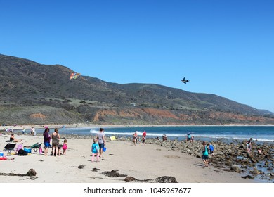 MALIBU, USA - APRIL 6, 2014: People visit Leo Carrillo State Park in Malibu, California. California State Parks have been visited by 74 million people in 2015.