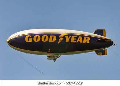 Malibu, USA. Circa August 2010. Goodyear blimp flies over Southern California.
