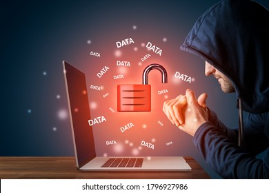 Malicious hacker prepared to steal data from notebook computer. Cybersecurity concept. Increased risk in post covid-19 era with home office workers with unsecured computers. - Shutterstock ID 1796927986