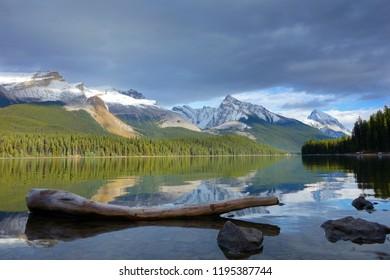 Maligne lake, Jasper national park at sunset, Canada