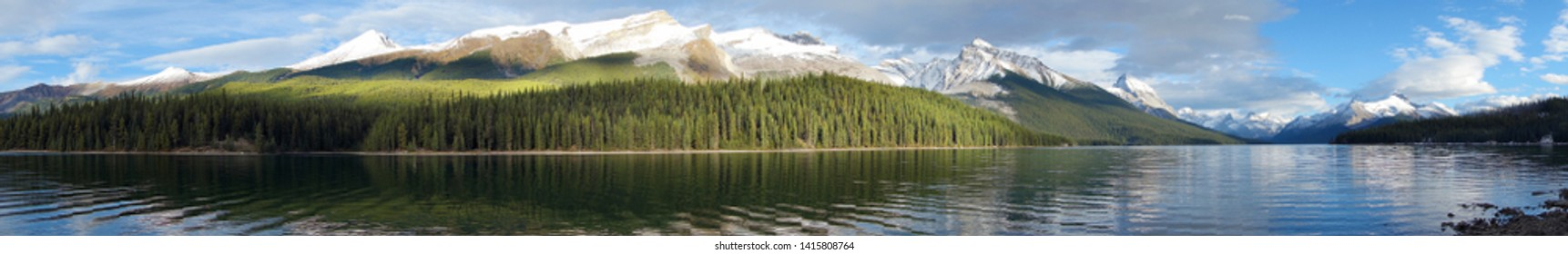 Maligne lake, Jasper national park, Canada, panoramic view