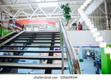 Marvelous Mall Interior Inside. Design Of Shopping Store. Stairs Light Market