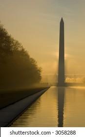 Mall at sunrise Washington Monument DC travel series 25