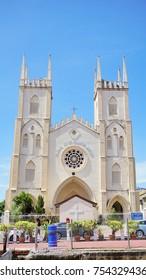 MALLACCA, MALAYSIA - APRIL, 2016 : St. Francis Xavier Church in morning blue sky at Malacca, Malaysia