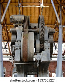Mallet, iron machine for forging and molding of metal parts, unused and currently at the center of the Balon market in Turin, Piedmont, Italy