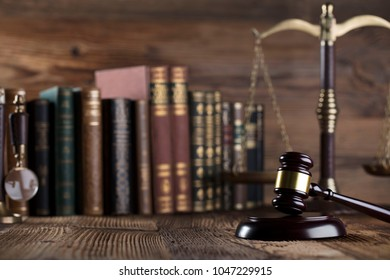Mallet of the judge. Law and justice concept.