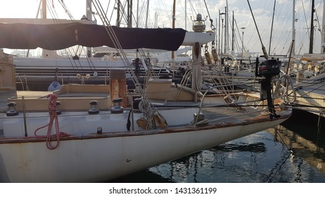Mallorca, Baleares, Spain, June, 20, 2019 Boats, yachts and sailboats on the seafront of Mallorca.