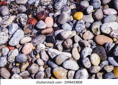 Mallorca beach stones at beach seaside in summer