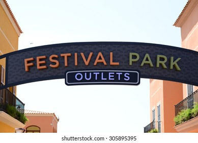 MALLORCA - JULY 31, 2015: Festival Park Outlets Center in Mallorca