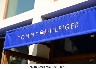 MALLORCA - JULY 31, 2015: Tommy Hilfiger Store in Festival park outlet village in Mallorca. Tommy Hilfiger Corporation is an American clothing company which is incorporated in Hong Kong.