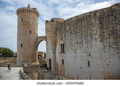 Mallorca, Spain - 09/06/2019 : Bellver Castle fortress in Palma-de-Mallorca, Spain