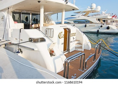 MALLORCA, SPAIN - AUGUST 30, 2018: Carme of Georgetown luxury yacht in Puerto Portals marina on a late summer sunny afternoon on August 30, 2018 in Mallorca, Spain