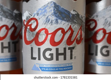 MALLORCA, SPAIN - JULY 22, 2020: Coors light beer, fresh American beer with mountain water.