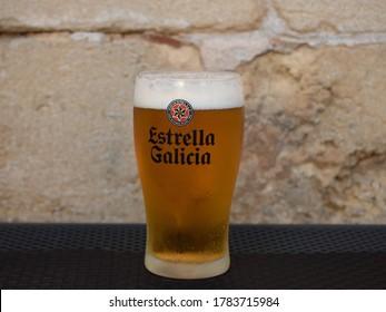 MALLORCA, SPAIN - JULY 26, 2020: Draft beer Estrella Galicia