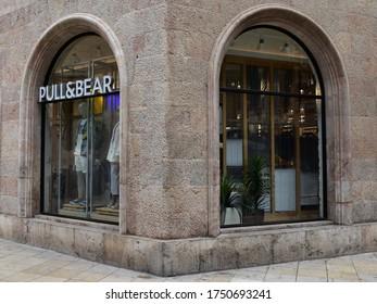 MALLORCA, SPAIN - June 06, 2020: Pull&Bear Inditex group clothing store