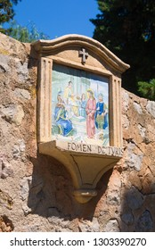 Mallorca, Spain - June 24 2017: Religious artwork depicting one of the scenes of the Stations of the Cross in Deia.