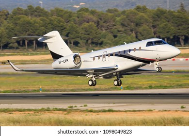 Mallorca, Spain Mai 18 2018: VP-CVH  Gulfstream G280 landing on the beautiful island in Spain