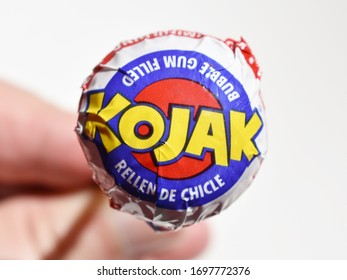 MALLORCA, SPAIN - MARCH 8, 2020: Kojak in caramel stuffed with chewing gum with stick of trademark Fiesta.