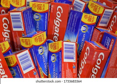 MALLORCA, SPAIN - MAY 17, 2020:  Colgate brand toothpaste on sale.