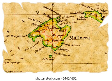 Mallorca, Spain on an old torn map from 1949, isolated. Part of the old map series.