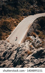 Mallorca, Spain. The panoramic view on road for cyclist. Famous hill, favorite place for road cyclist
