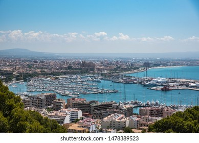 Mallorca/Spain - May 26,2018 - An amazing view over Palma de Mallorca harbour, full of yachts.