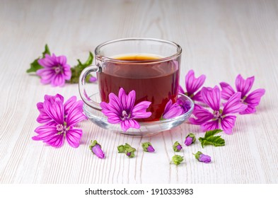 Mallow herb (Malva Vulgaris) mallow flower tea in cup. - Shutterstock ID 1910333983