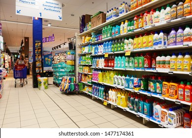 MALMEDY, BELGIUM - JULY 2019: Aisle with an assortment cleaning products in a Carrefour hypermarket.