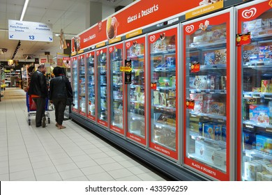 MALMEDY, BELGIUM - MAY 4, 2016: Freezer department with Ice cream of Unilever Heartbrand in a Carrefour Hypermarket. Unilever is the world's biggest ice cream manufacturer.