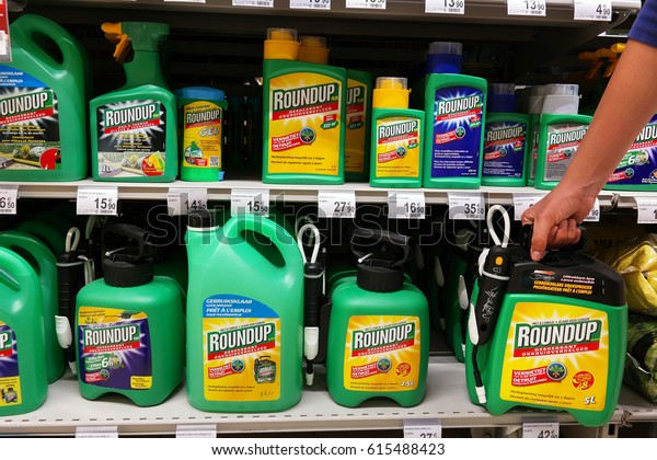 MALMEDY, BELGIUM - MAY 4, 2016: Shelves with a variety of Herbicides in a Carrefour Hypermarket. Roundup is a brand-name of an herbicide containing glyphosate, made by Monsanto Company.