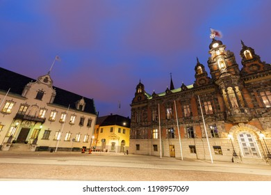 Malmo City Hall at night. Malmo, Scania, Sweden.